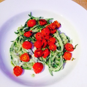 Pesto courgetti with the sweetest baby tomatoes…